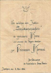 Urkunde für bestes Kostüm in Deersheim